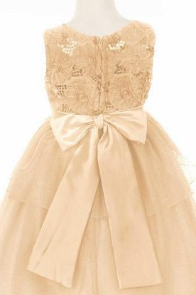 Tea-Length Split-Front Sequins&Satin Flower Girl Dress