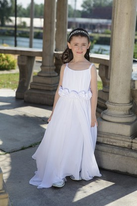 Flower Girl Scoop Neck A-line Split Chiffon Long Dress With Flower Waist