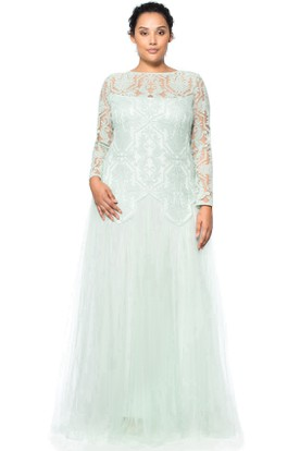 Floor-Length Long Sleeve Appliqued Jewel Neck Tulle Evening Dress