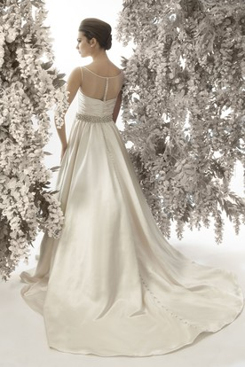 A-Line Criss-Cross Sleeveless Bateau Neck Satin Wedding Dress