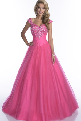 Cap Sleeve Tulle A-Line Quinceanera Dress With Crystal Top