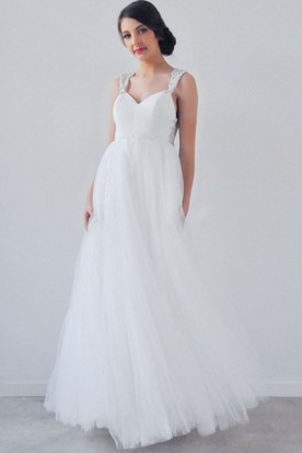 A-Line Empire Beaded Sleeveless V-Neck Tulle Wedding Dress