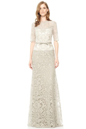 Floor-Length Half Sleeve Jewel Neck Bowed Lace Evening Dress