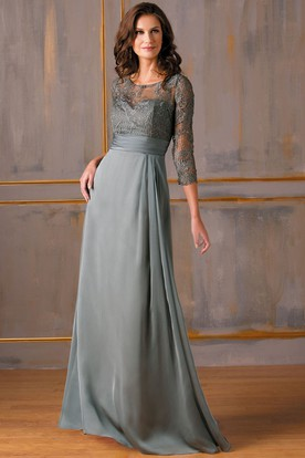 3-4 Sleeved Gown With Lace Bodice And Keyholes Back