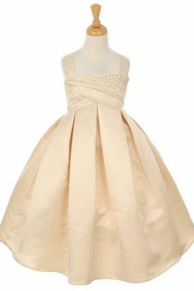 Tea-Length Sleeveless Beaded Satin Flower Girl Dress