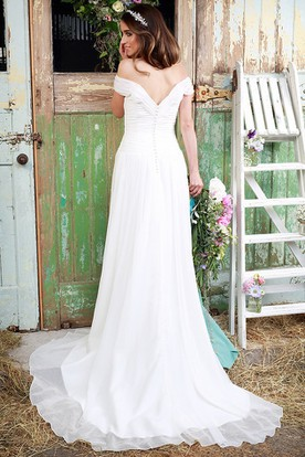 Long Off-The-Shoulder Ruched Tulle Wedding Dress