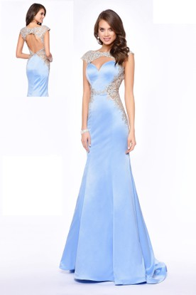 Sheath Long Bateau Cap-Sleeve Satin Keyhole Dress With Appliques
