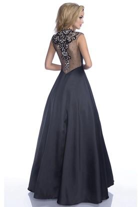 199b4f7e0f2 A-Line Jewel Neck Cap Sleeve Prom Dress Featuring Rhinestones Back