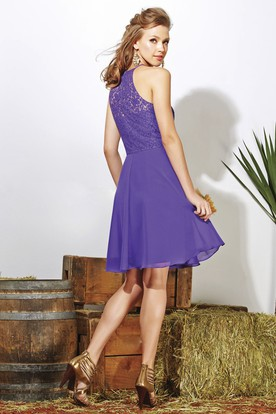 High-Neck A-Line Knee-Length Bridesmaid Dress With Lace Bodice