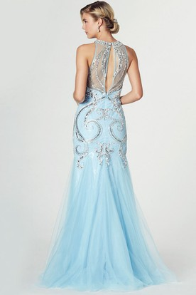 Mermaid Crystal High Neck Sleeveless Tulle Prom Dress With Illusion Back