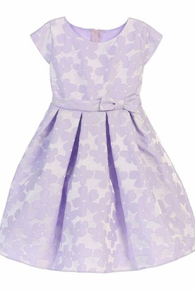 Knee-Length Tiered Pleated Flower Girl Dress