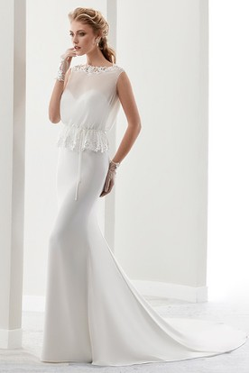 Cap Sleeve Illusion Sheath Gown With Wire Waist And Keyhole Back