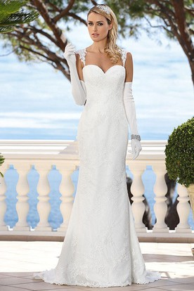 Queen Anne Long Appliqued Lace Wedding Dress With Illusion