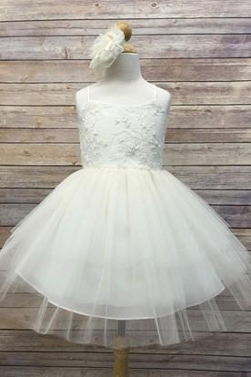 Knee-Length Spaghetti Beaded Tiered Tulle&Sequins Flower Girl Dress