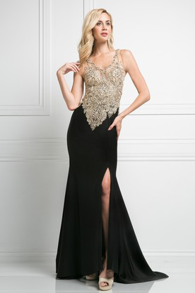 Sheath V-Neck Sleeveless Jersey Illusion Dress With Beading And Split Front