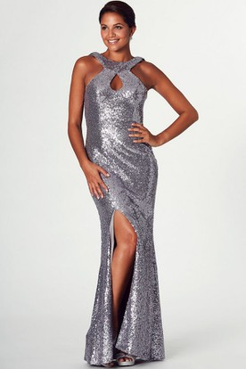 Sheath Split-Front High-Neck Sleeveless Floor-Length Sequins Prom Dress
