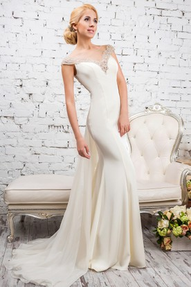 Sheath Floor-Length Cap-Sleeve Scoop-Neck Beaded Satin&Tulle Wedding Dress