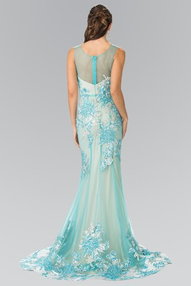 Trumpet Scoop-Neck Sleeveless Tulle Illusion Dress With Appliques