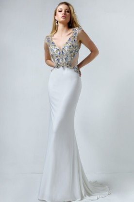 Sheath Maxi V-Neck Cap-Sleeve Jersey Keyhole Dress With Crystal Detailing