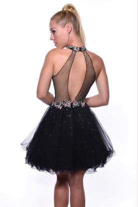 High Neck Sleeveless Short Tulle Homecoming Dress With Crystal Detailing