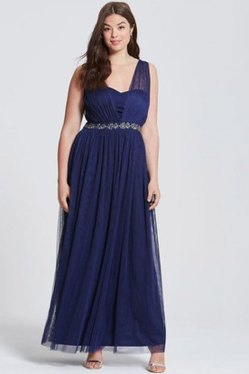 Ankle-Length Ruched Sleeveless V-Neck Tulle Bridesmaid Dress