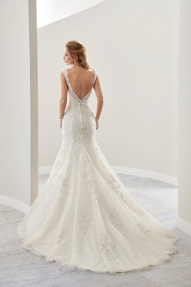 V-Neck Mermaid Lace Bridal Gown With Illusive Appliques Straps And Open Back