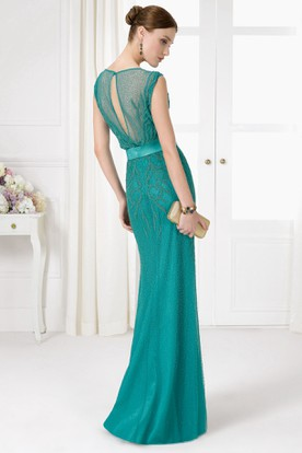 Sheath Jewel Neck Sleeveless Beaded Tulle Prom Dress With Keyhole