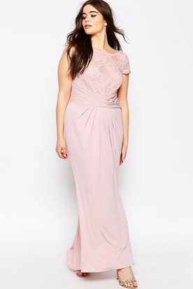 Pencil Long-Sleeveless Scoop-Neck Chiffon Bridesmaid Dress With Appliques And Illusion