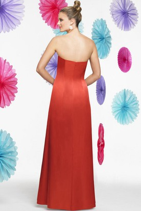 Strapless Floral Satin Bridesmaid Dress With Draping And Cape