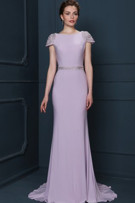Sheath Beaded Floor-Length Jewel-Neck Cap-Sleeve Jersey Evening Dress With Waist Jewellery