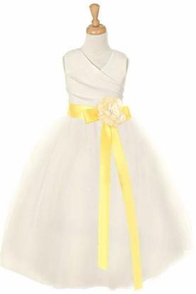 V-Neck Ankle-Length Tiered Tulle&Satin Flower Girl Dress