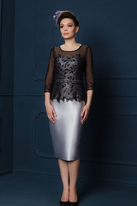 Pencil Knee-Length Appliqued Illusion Sleeve Square Neck Satin Mother Of The Bride Dress