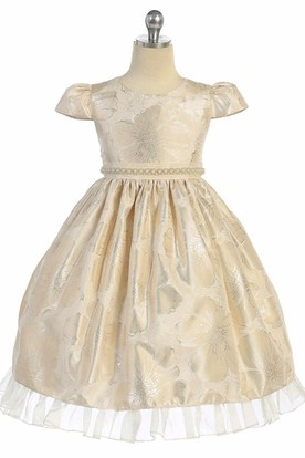 Tea-Length Cap-Sleeve Beaded Organza Flower Girl Dress With Ruffles
