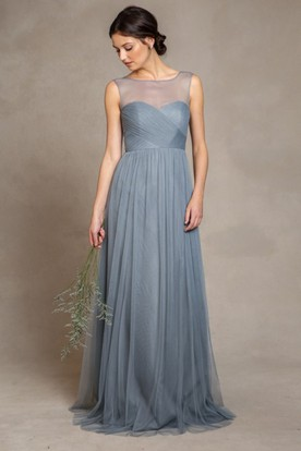 Sleeveless Bateau Neck Criss-Cross Empire Tulle Bridesmaid Dress