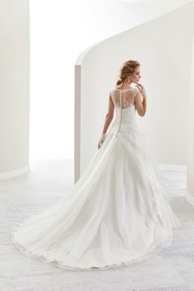 Cap Sleeve A-Line Bridal Gown With Illusive Design And Side Ruffles