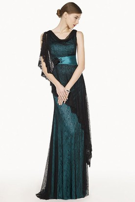 Cowl Neckline Asymmetric Sheath Lace Long Prom Dress With Floral Satin Sash