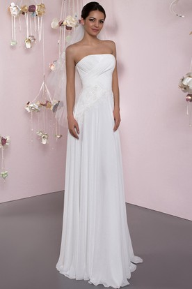 Sheath Ruched Strapless Sleeveless Long Chiffon Wedding Dress With Corset Back And Pleats