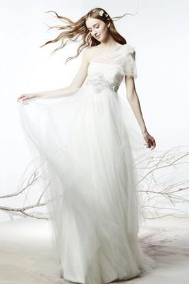 Sheath Empire Floral One-Shoulder Tulle Wedding Dress