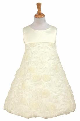 Tea-Length Sleeveless Bowed Satin Flower Girl Dress