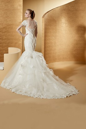Illusion Jewel-Neck Mermaid Lace Gown With T-Shirt Sleeves And Ruching Train