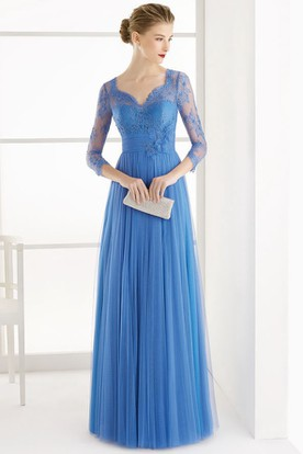 A-Line 3-4-Sleeve Lace V-Neck Floor-Length Tulle Prom Dress With Flower And Pleats