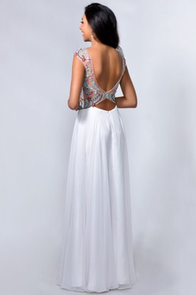 A-Line Long V-Neck Cap-Sleeve Jersey Low-V Back Dress With Appliques