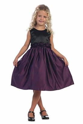 Knee-Length Tiered Satin Flower Girl Dress