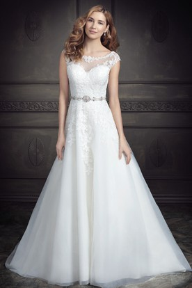 A-Line Jeweled Floor-Length Cap-Sleeve Scoop-Neck Lace&Tulle Wedding Dress With Appliques And V Back