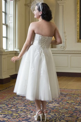 Plus Size Tea Length Lace Tulle Bridal Gown With Lace Up