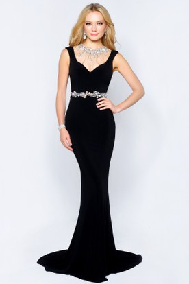 Trumpet Jewel-Neck Jersey Illusion Dress With Waist Jewellery And Beading