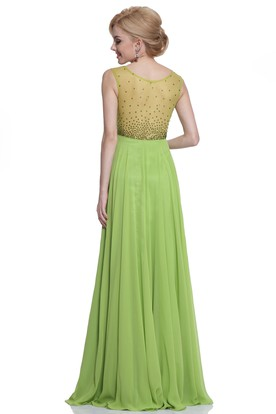 A-Line Maxi V-Neck Sleeveless Empire Chiffon Illusion Dress With Beading And Pleats