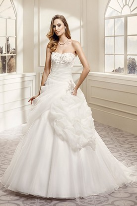 A-Line Pick-Up Strapless Organza Wedding Dress With Beading