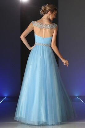 A-Line Long Scoop-Neck Cap-Sleeve Tulle Illusion Dress With Beading And Ruching