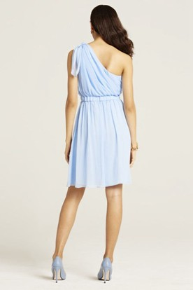 Mini Sleeveless Ruched One-Shoulder Chiffon Bridesmaid Dress